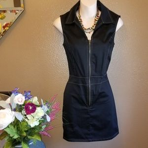 STYLISH COLLARED ZIP UP DRESS